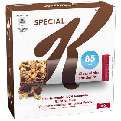 kellogg`s  barretta special k  cereali e cioccolato fondente pz. 6 gr.129