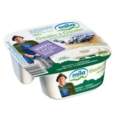 mila gusto+gusto  yogurt bianco mirtilli gr.150 100%latte alto adige