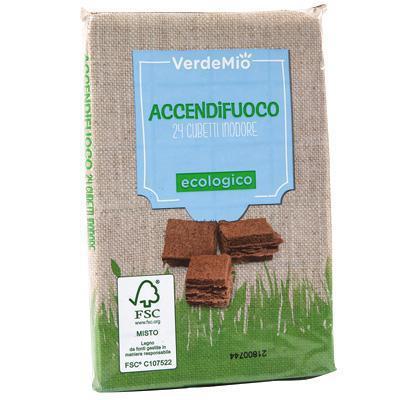 verdemio accendifuoco ecologico 24 cubetti inodore