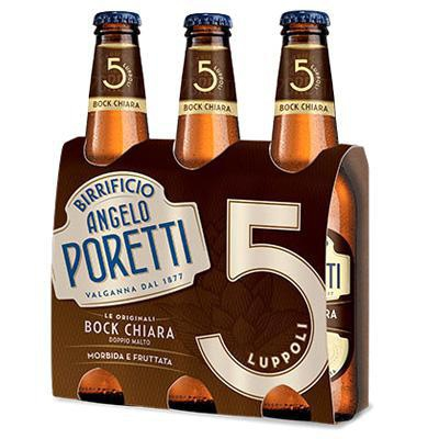 poretti birra 5 luppoli bock chiara cl.33x3