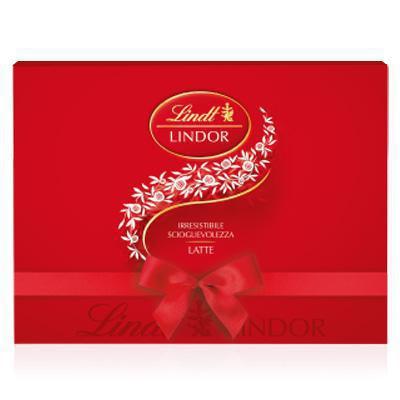 lindt scatola cioccolatini lindor rossi gr.225