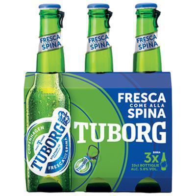 tuborg birra bottiglia cl.33x3