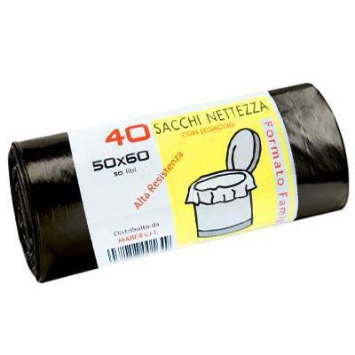 sacco nettezza nero 50x60 pz.40