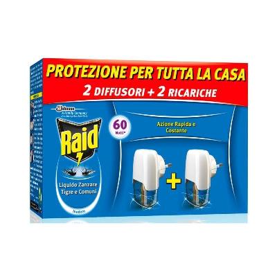 raid 2 diffusori + 2 ricarica liquido zanzare