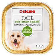 sigma pate' per cane con vitello e piselli  vaschetta gr.150