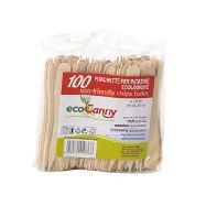 ecocanny forchetta patatine in legno di betulla bio-compostabile pz. 100