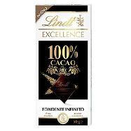 lindt tavoletta cioccolato excellence 100% cacao gr.50